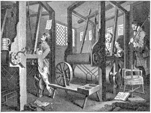 Illustration from a series by Hogarth illustrating the virtues of hard work