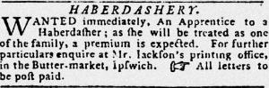 Haberdashery Newspaper Want Ad
